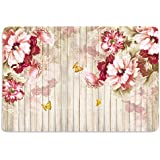 Walls And Murals Flowers And Wood Planks Hd Digital 12X18 Inches Heavy Cotton Dining Table Place Mats(Set Of 6)