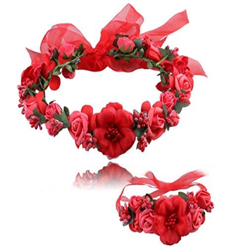 Blume Garland handgefertigt Stoff Rose Perlen Hochzeit Party Band Stirnband Handgelenk Band Set für Jugendliche Brides, Brautjungfer Mädchen rot