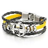 COOLSTEELANDBEYOND Anker Kreuz Multi-Strang Leder-Armband Wickeln Schweißband Damen Herren Armband Gelb Schwarz Geflochtenes Leder