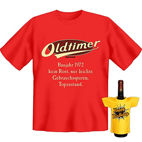 Geburtstags Set T-Shirt + Mini für die Flasche <->          Oldtimer Baujahr 1972          <->           Rot, ein kleines lustiges Geschenk Goodman Design® Rot