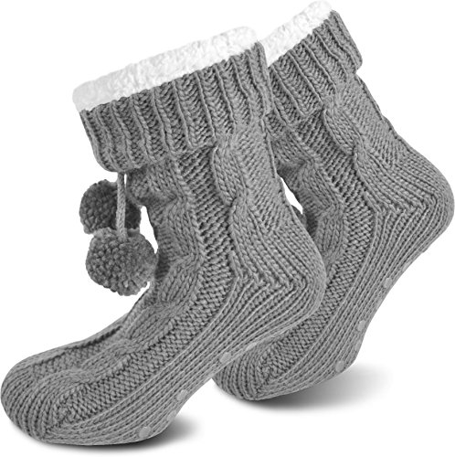 normani Damen Hausschuhe - Flauschig warme Hausschuhe mit ABS Sohle Farbe Grau Größe 36/40 (Damen-socken Acryl)