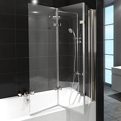 ᐅ Duschabtrennung Badewanne, Glas, 3 Flügel, Nano-Beschichtung ᐅ ... | {Duschabtrennung glas badewanne 68}