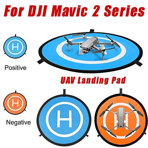 Wokee Landeplatz für DJI Mavic 2 Serie Drohnen und Helikopter (Landematte in 75cm / 29.5in, Rutschfest, einrollbar, mit Landeflächen-Symbol) Tragbare UAV Landematte Fast-Falten Schürze