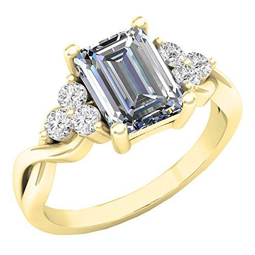 10K Gelb Gold 8x 6mm Lab Erstellt Weiß Saphir & Weiß Saphir Verlobungsring Ring (Größe 7) (7 Saphir-ring Größe)