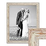 PHOTOLINI Vintage Bilderrahmen 40x50 cm Weiss Shabby-Chic Massivholz mit Glasscheibe und Zubehör/Fotorahmen / Nostalgierahmen