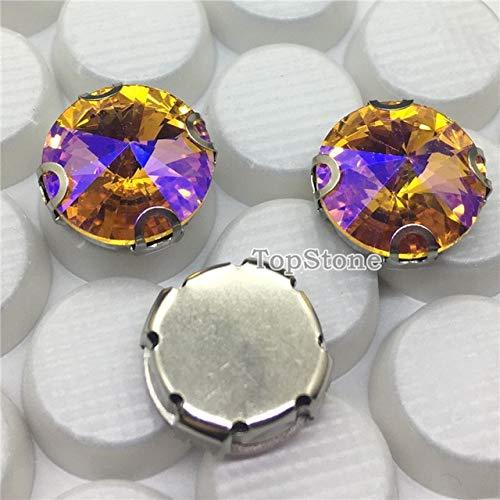 Calvas 8 10 12 14 16 18 mm AB Farben Runde Rivoli-Kristalle zum Aufnähen mit D-Krallenfassung lose Glaskristall-Perlen für Kleidung Topaz AB / 18mm 20pcs -