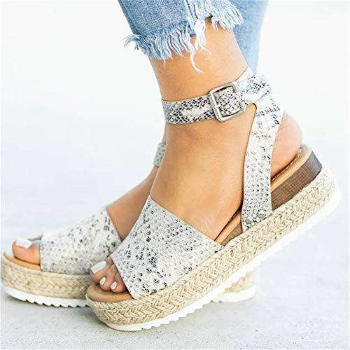 LQUIDE High Heels Sandalen für Frauen Größe 5 Größe 9 Größe 11 Schuhe für Frauen Sommer Schuhe 2019 Flip Flop Chaussures Femme Plateau Sandalen 2019 Plus Size,Snakeprint,6.5