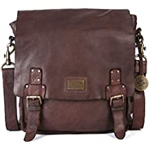 KOMPANERO Leather 33 x 34 x 11 cm Dark Brown Messenger Bag