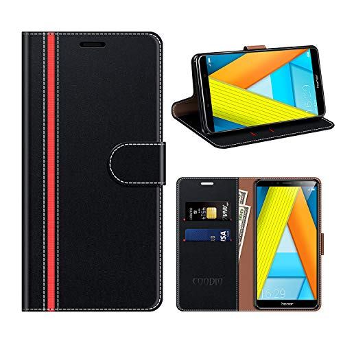 COODIO Honor 7A Hülle Leder, Huawei Y6 2018 Kapphülle Tasche Leder Flip Cover Schutzhülle Rugged für Honor 7A / Huawei Y6 2018 Handyhülle, Schwarz/Rot