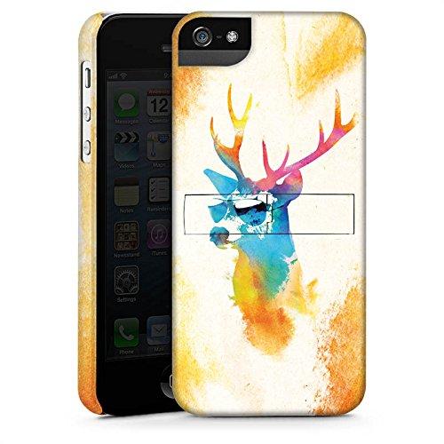 Apple iPhone 5s Housse Étui Protection Coque Hipster Cerf Lunettes de soleil CasStandup blanc