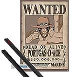1art1 Poster + Suspension : One Piece Poster (91x61 cm) Wanted Portgas D Ace Et Kit...