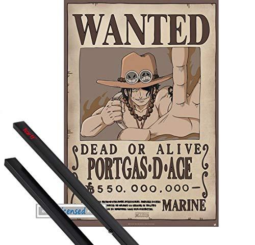 1art1® Poster + Suspension : One Piece Poster (91x61 cm) Wanted Portgas D Ace Et Kit De Fixation Noir