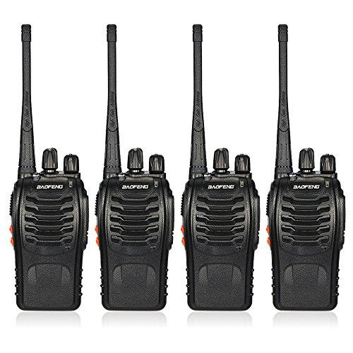 BaoFeng BF-888S 16CH FM UHF 400-470 MHz Talkie Walkie Transceiver 2-Wege-Radio Portable Handheld Interphone Langdistanz 1500mah Akku 4Stück