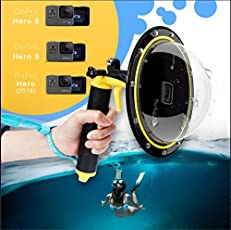 """TELESIN Gopro Dome Port GoPro Camera Accessories, Underwater 6"""" GoPro Dome Port Cover Case with Waterproof Cover Case Floating Bobber Handle Trigger for GoPro Hero 6 & Hero 5"""