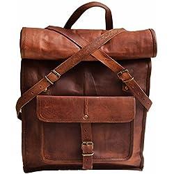 """23""""gran piel auténtica mochila para portátil de viaje Roll Top mochila para hombres mujeres"""