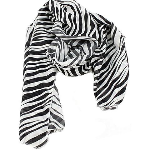 Pantalones de deporte para mujer Fashion OMO diseño de piel de cebra diseño de patrón de tela envoltorio con estampado Animal para Nochevieja chal para bufanda negro + de color blanco