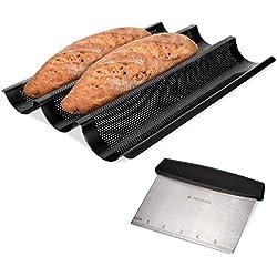 Navaris Plaque de Cuisson Baguette - Moule à Pain antiadhésif - Planche en Acier au Carbone - 3X Baguette au Four - Coupe-pâte Inclus