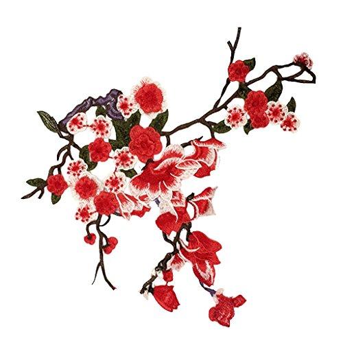MagiDeal Plum Blume Nähen Aufnäher Applikation Applique Patches auf Schal Jeans Kleid Idee Kreative Mode Künste Kleidung 34x30cm - rot, one (Ideen Kostüm Kleid Rot)
