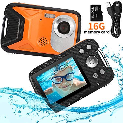 PELLOR Appareil Photo Enfants Etanche Mini Caméra Numérique Rechargeable Anti-Choc avec Carte 16GB Sport Jouet Extérieur (Orange)