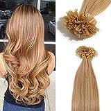TESS Extensions Echthaar Bondings 1g 100% Remy Haarverlängerung 50 Strähnen Keratin Human Hair 50g/45cm(#27 Honigblond)