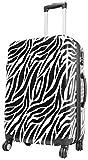 Koffer XL Zebra Weiss Schwarz 77x51x30cm Hartschale Reise Trolley + 20% Erweiterbar mit Dehnfalte Bowatex