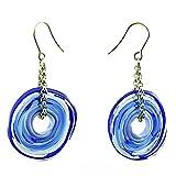 Ohrringe in Blau aus Murano-Glas | Hänger aus Edelstahl | Glas-Schmuck | Unikat handmade handgemacht | Geschenk Jahrestag Hochzeit Geburtstag Mama| Personalisiertes Geschenk zu Weihnachten | blau