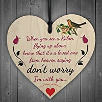 RED OCEAN Robins Are Loved Ones From Heaven Hanging Wooden Heart Plaque Memorial Sign