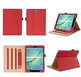 ISIN Tablet Fall Serie Premium PU-Leder Schutzhülle für Samsung Galaxy Tab S3 9.7 Zoll SM-T820 und T825 Android Tablet PC mit Mehrere View Engel (Rot)