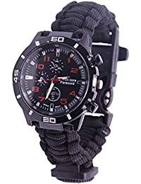 NAVIFORCE Reloj de Supervivencia Pulsera de Paracord con Brújula / Arrancador de Fuego / Silbato / Paracord de Emergencia (Negro)