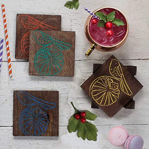 Hölzerner Untersetzer-Satz von 4 handgemachter Untersetzer-Satz mit dekorativem Holzhalter für Getränke Tee und Couchtisch Cocktail Coasters zwitschern Vogel Design für Geschenk-Zwecke