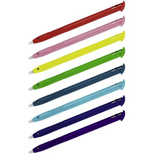 Hama Touchscreen Eingabestifte für Nintendo New 3DS XL, 8er-Set (Ersatz für verlorene Original-Stifte) Ersatzstift, Touch-Pen, Stylus regenbogenfarben