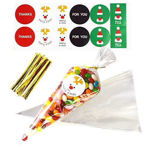 QULiTAN Cone Tüte Süßigkeiten, 100 Stück Klare Cellophan Kegel Taschen mit Krawatten und 10 Blätter Weihnachtsaufkleber für Kids Party Tasche Weihnachten Candy Popcorn