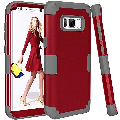 topbin Samsung Galaxy S8Fall, [Ultra Slim] 3in Premium Slim Leicht Kratzfest Fit Hülle Hart PC + Soft Silikon bchiea Schutzhülle Besten Fall für Samsung Galaxy S8, Red+Grey Harte Slim Fit-fällen