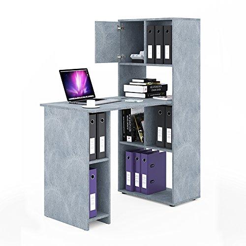 VICCO Schreibtisch Regalkombination 144cm Höhe Arbeitstisch Regal Ordner Akten Büro PC-Tisch -...
