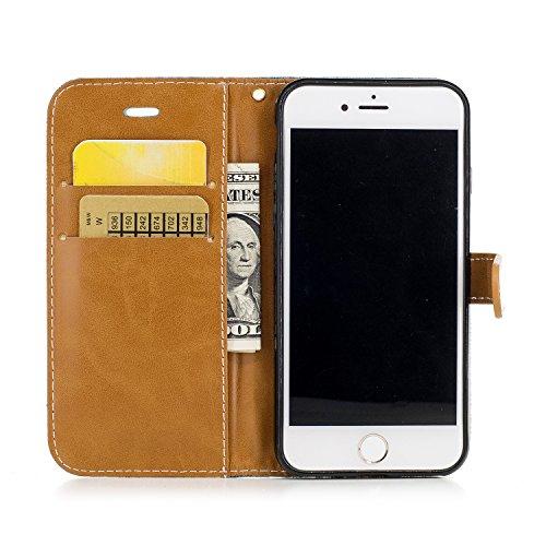 iPhone 7 Coque, Voguecase Étui en cuir synthétique chic avec fonction support pratique pour Apple iPhone 7 4.7 (toile de jean-noir)de Gratuit stylet l'écran aléatoire universelle toile de jean-vert foncé