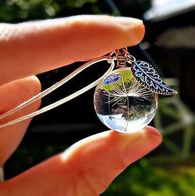 Collier de pissenlit avec un breloque de feuille Sterlilng chaîne en argent Boite cadeau bijoux sur mesure pendentif fleur pour femme