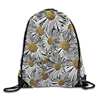 Etryrt Premium Drawstring Gym Bag, Drawstring Gym Backpack Bag White Daisy Bunch Backpack for Men and Women