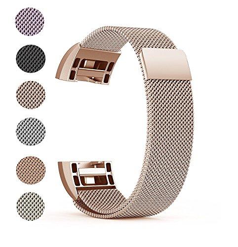 Fitbit Charge 2 Ersatz Armbänd, BeneStellar Ersatz Milanese Band für Fitbit Charge 2 (Rose Gold, Small (5.7'-7.8'))