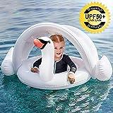 ONMET Piscina Salvagente per Bambini con Parasole, Barca per Bebè Gonfiabili, Piscina Baby Salvagente Bambini Float per 3 Mesi - 3 Anni