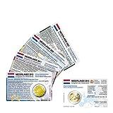Set - alle Münzkarten (ohne Münze) Niederlande für 2-Euro Gedenkmünzen, 4 Münzkarten