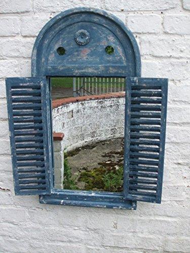 Traumhafter Wandspiegel m. Fensterläden,Landhausstil, blau,Shabby-Chic
