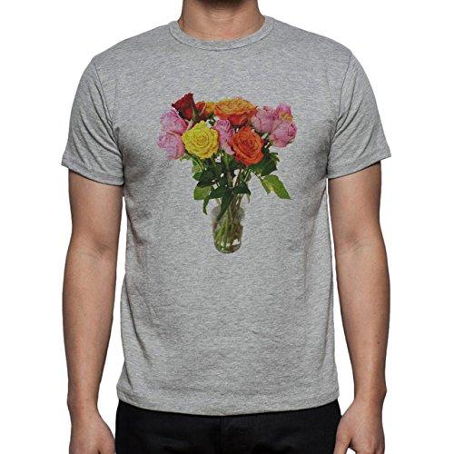 Flowers Nature Blossom Plant Vase Herren T-Shirt Grau