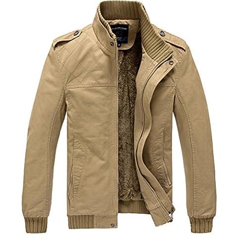 Linyuan Mode Men's Cotton Winter Wram jacket Coat Plus Velvet Outerwear Long Sleeve Slim Fit