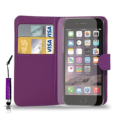 Apple iPhone 7 - Ledertasche Flip Case Cover Tasche + Mini Touch Stylus Pen + Screen Protector & Poliertuch ( Schwarz ) Dark Purple
