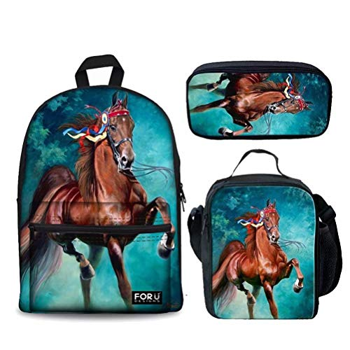 Chaqlin Crazy Horse Rucksack mit Lunchpaket Federmäppchen 3er Schulset für Jungen Mädchen Schulbücher