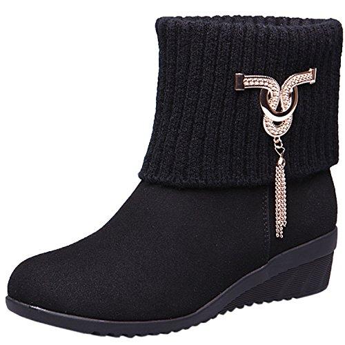 Oasap Femme Boots Talons Bas Bout Rond Décoration Métal