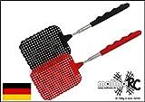 2x Fliegenklatsche rot / schwarz Mix noch besser   NEU 2018 Teleskop mit Teleskopstiel   Modell Batsch   Fliegenfalle Fliegenfänger Klatsche Länge 26cm - ausziehbar auf 72cm   molinoRC®   BRD