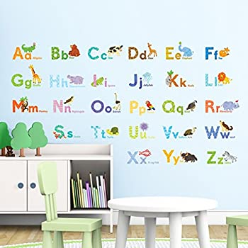 Decowall DAT 1608 Watercolour Animal Alphabet Kids Wall Stickers Wall Decals  Peel And Stick Removable Wall Stickers For Kids Nursery Bedroom Living Room Part 23