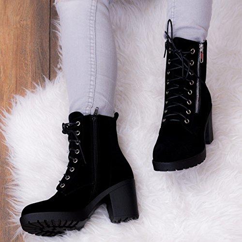 69f0ad955046e0 Spylovebuy Daim À Bloc It Rock Bottines Noir Chaussures Talon Lacet Simili  Femmes ggfPr