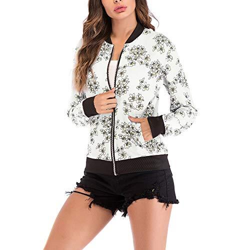 Rosennie Damen Mode Lange Ärmel Spitze Blazer Anzug Beiläufig Jacke Mantel Herbst Winter Langram Bluse Outerwear(Weiß 5,L)